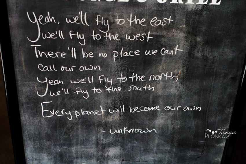 Chalkboard in restaurant