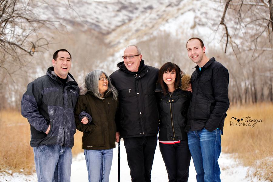 Family photos in Indian Battle Park, winter, Lethbridge