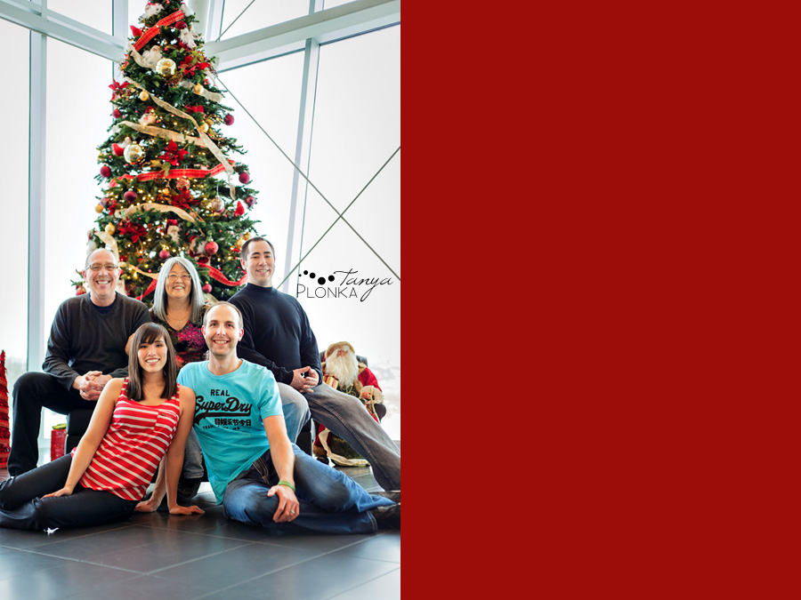 Family photos at the Galt Museum viewing gallery, winter, Lethbridge