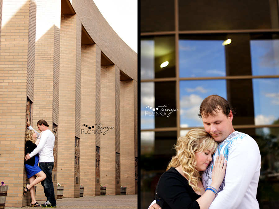 Lethbridge engagement photos in spring by Lethbridge City Hall