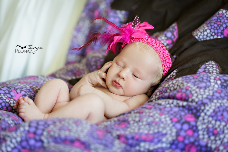 Lethbridge newborn photos baby girl in pink headband