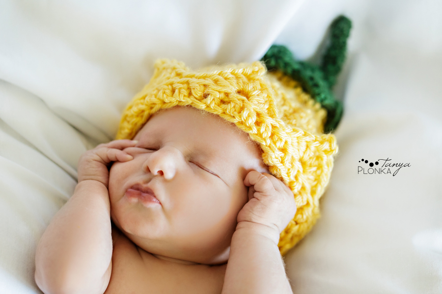 Lethbridge newborn photos baby girl in knitted hat
