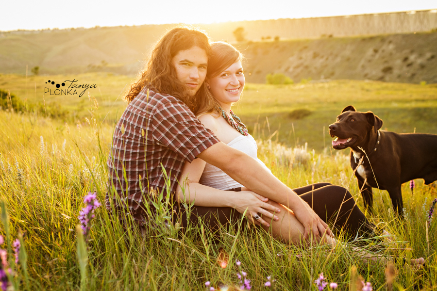 Lethbridge maternity photos in at sunset, couple with dog