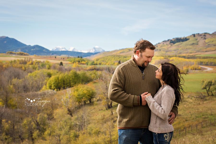 Beaver Mines couple photos on farm overlooking mountains