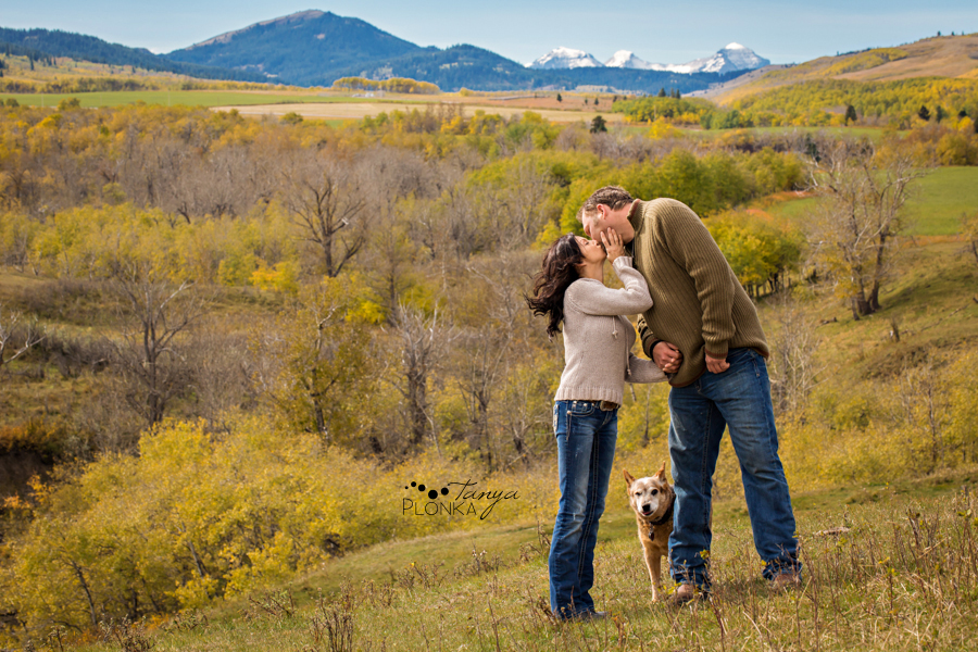Beaver Mines couple photos on farm with dog overlooking mountains