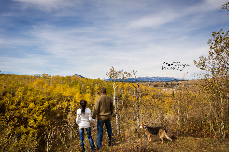 Beaver Mines couple photos on farm with dog overlooking mountains and trees