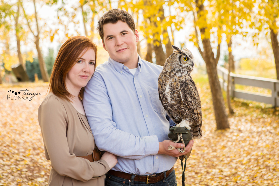 Fun Coaldale couples session with couple holding owl