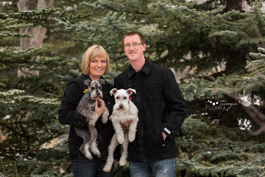 Lethbridge engagement photos in winter with dogs
