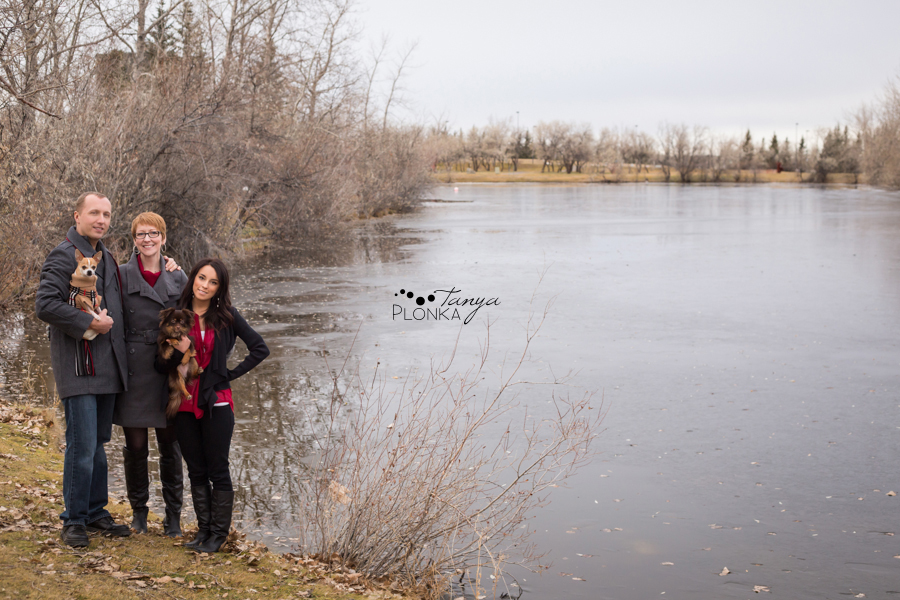 Lethbridge family photos with dogs in late autumn