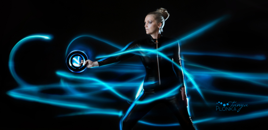 Tron Legacy Inspired Photos, girl with blue lights
