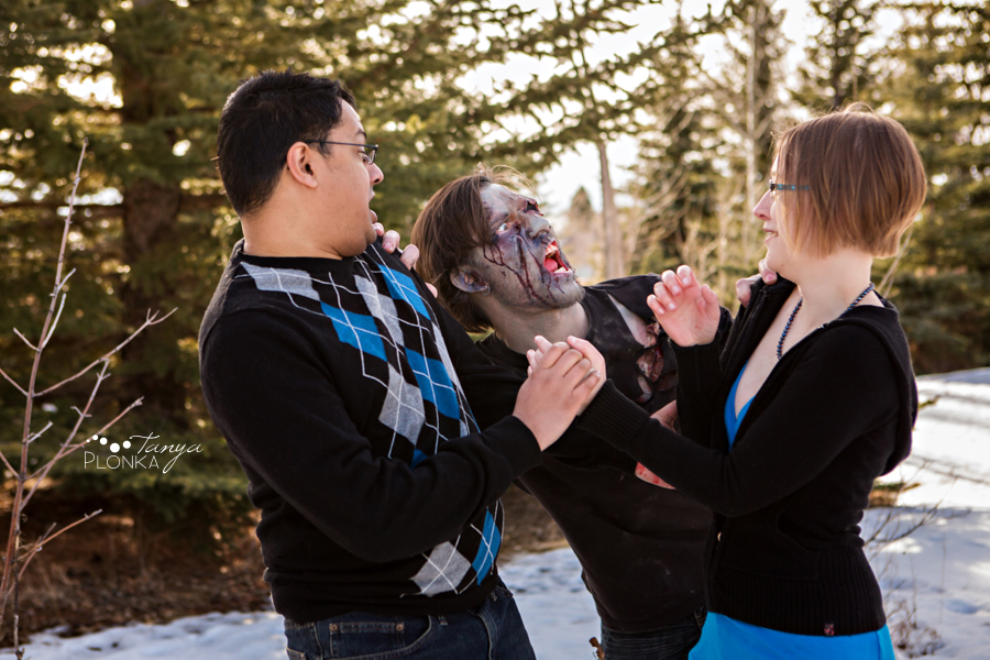 cool zombie engagement photo shoot