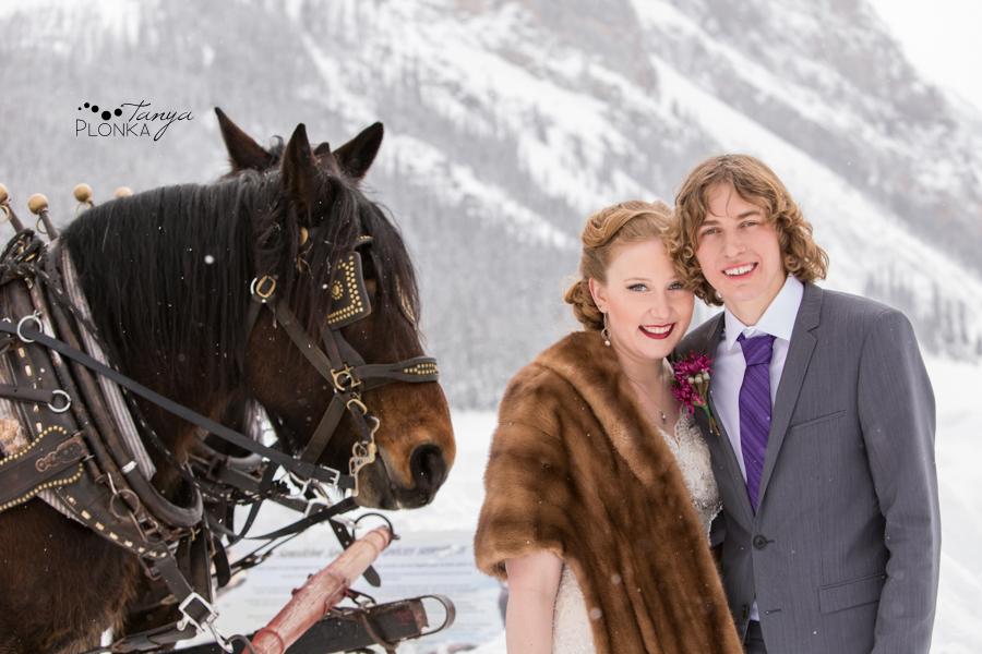 Alex and Erika, Lake Louise outdoor winter wedding photos