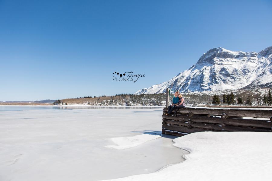 Waterton winter engagement photos