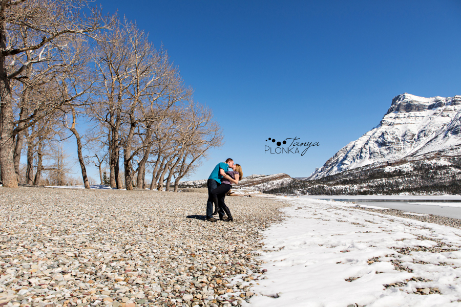 Waterton snowy engagement photos