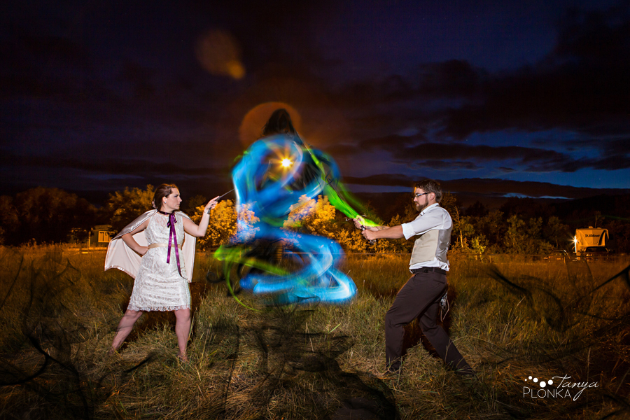 Tricia & Colin, light painting magic wedding portrait