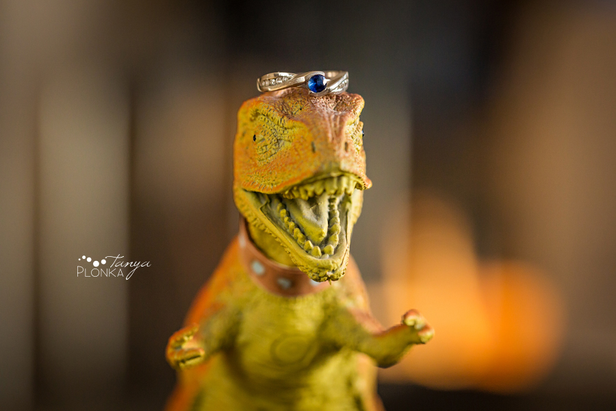 fun engagement ring photo with dinosaur