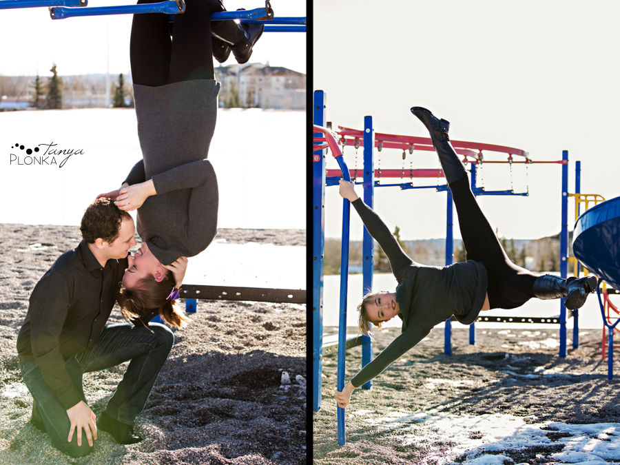 fun Calgary engagement photos at a playground