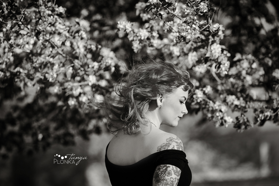 spring apple blossom portraits in Lethbridge with Katt Panic