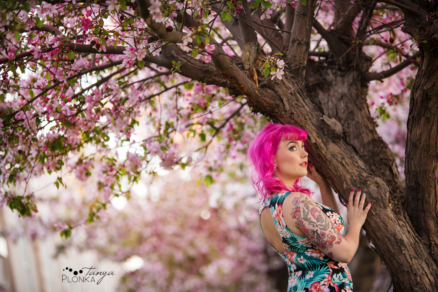 spring cherry blossom photos in Lethbridge with Katt Panic