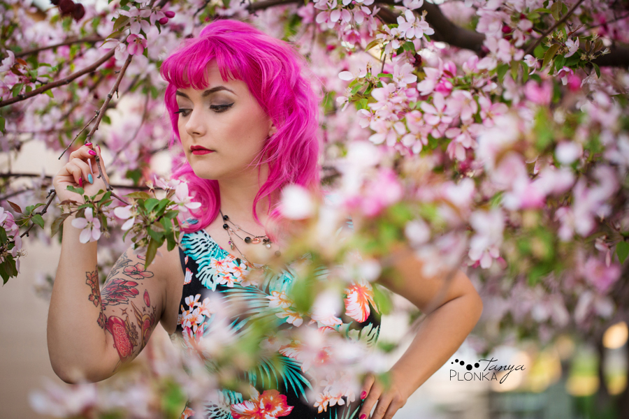 spring cherry blossom portraits in Lethbridge with Katt Panic