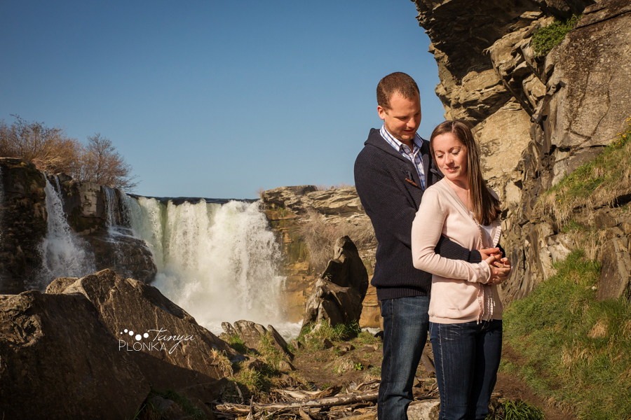 Lundbreck Falls spring engagement photos