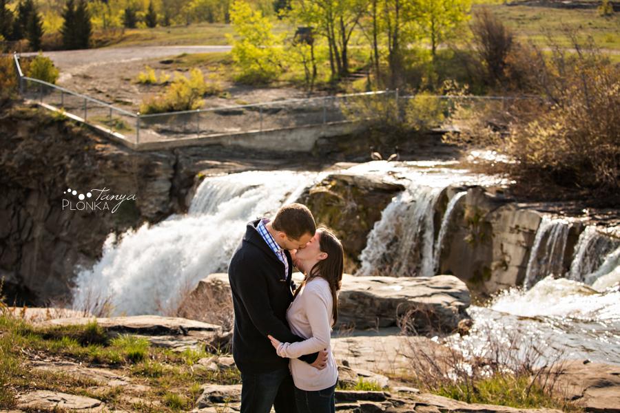 Lundbreck Falls spring engagement photos