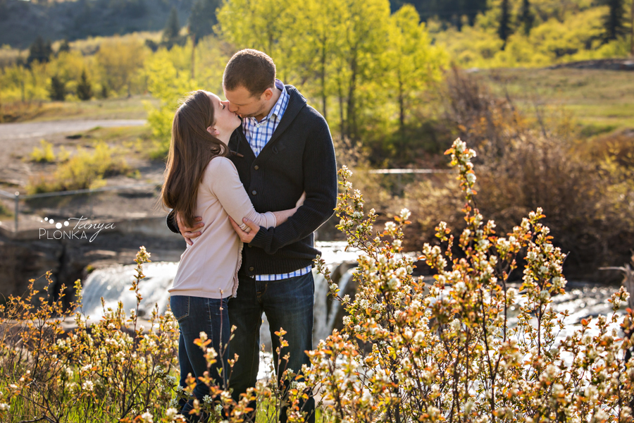 Lundbreck Falls spring engagement session