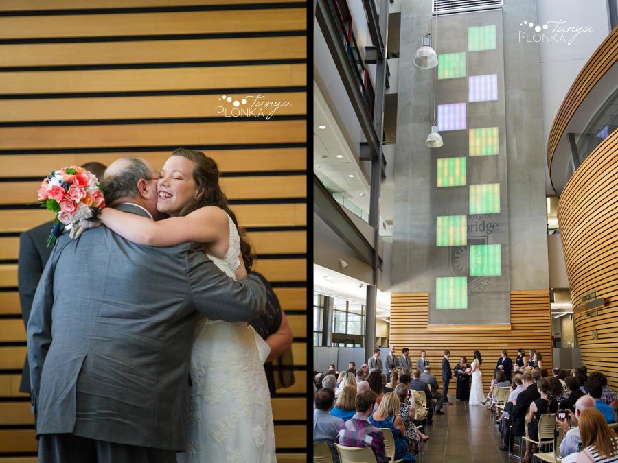 Scott and Katie, University of Lethbridge indoor summer wedding photography
