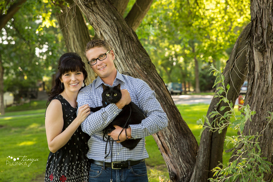 downtown Lethbridge summer engagement photos with pets