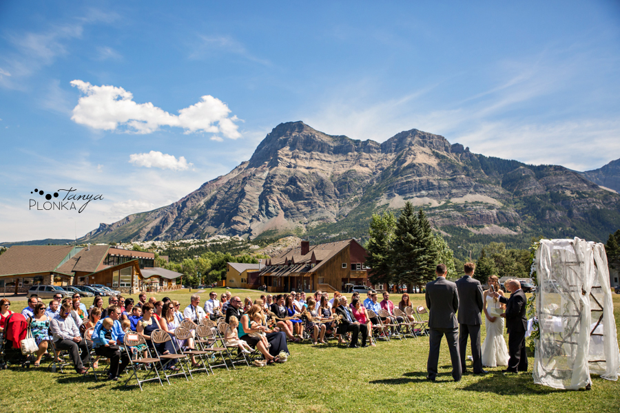 Garrett & Heather, Waterton Community Center outdoor wedding