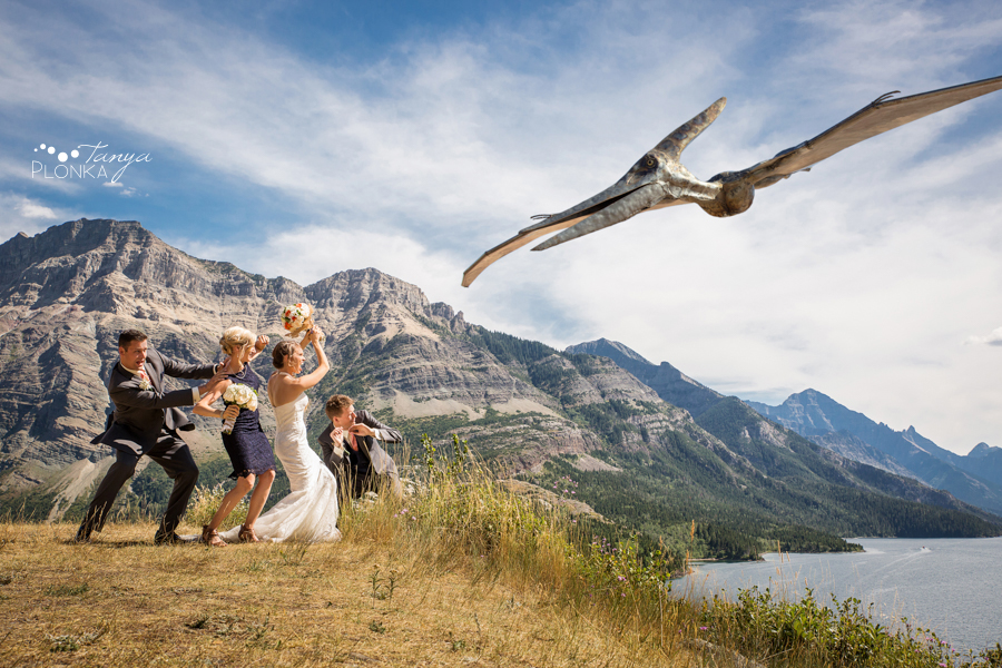 Garrett & Heather, Waterton Lakes Park wedding photos with dinosaur attack