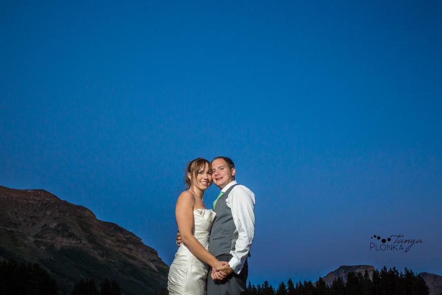 Shawn & Jori, Castle Mountain night time wedding photography