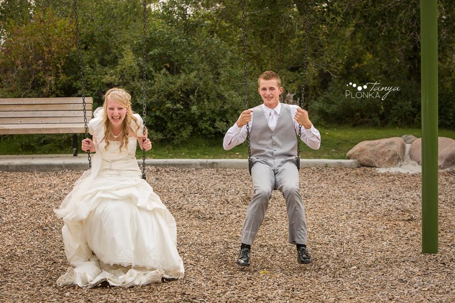 Jeremy & Emily, fun Lethbridge playground wedding photos