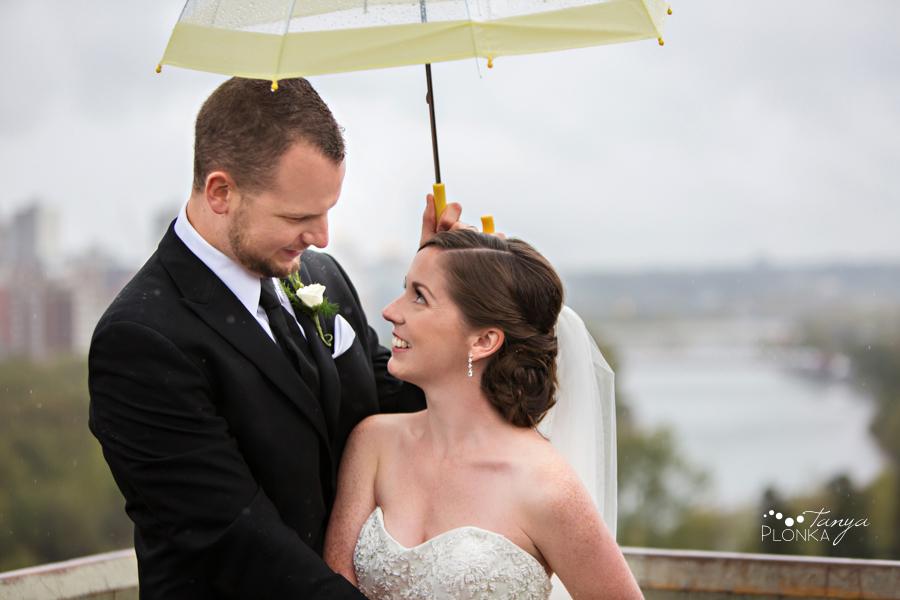 Evan & Emily, Calgary cityscape rainy outdoor wedding photos