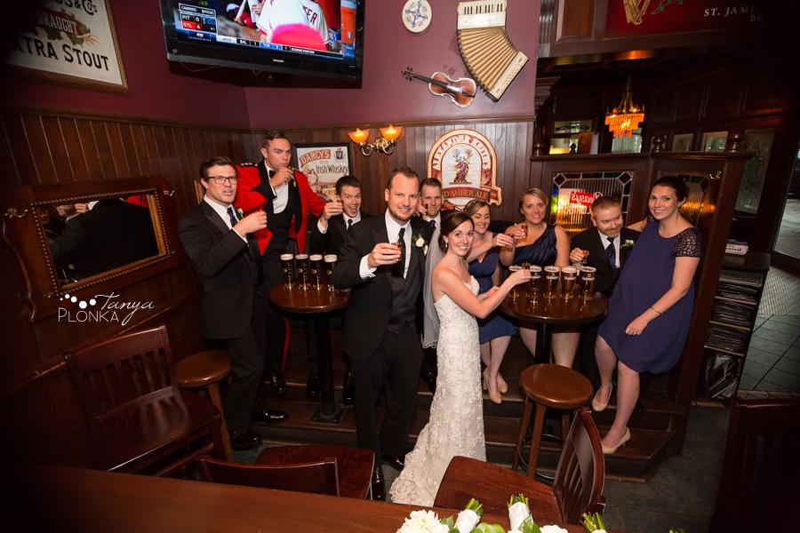 Evan & Emily, fun Calgary Irish pub wedding photos