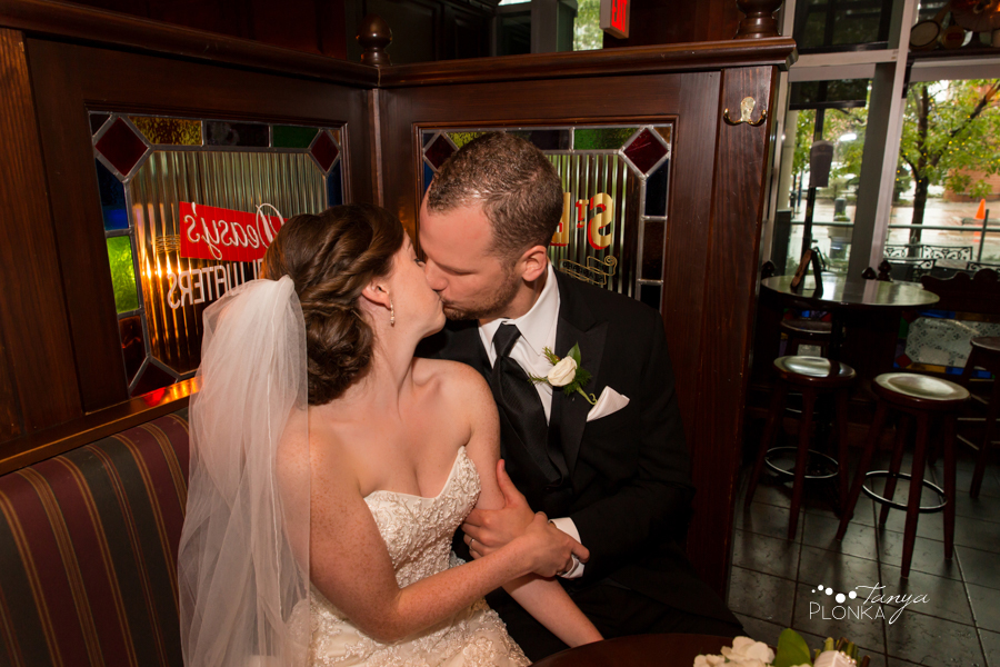 Evan & Emily, fun Calgary Irish pub wedding photography