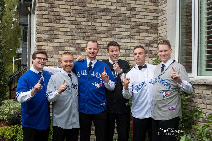 Evan & Emily, sports fans jerseys Calgary wedding photos