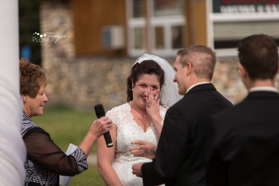 Kevin & Ashley, outdoor autumn Waterton Lakes Lodge wedding
