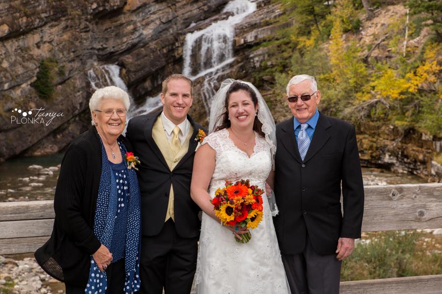 Kevin & Ashley, autumn Waterton wedding