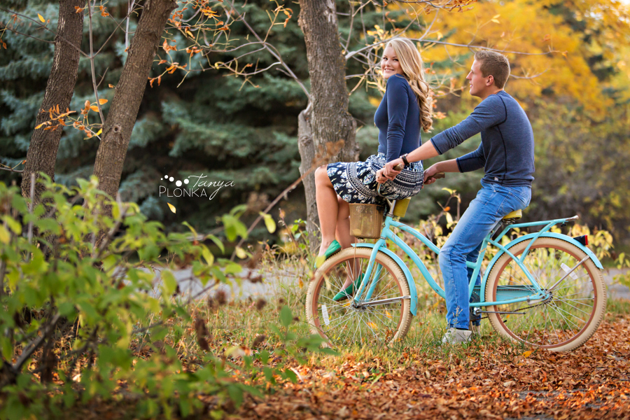 Park Lake fall engagement session with bicycle