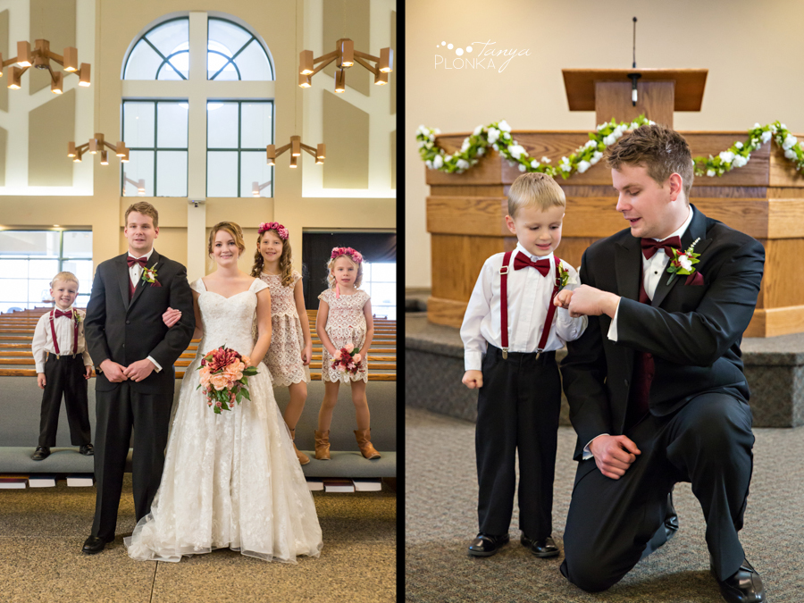 Annelies & Kyle, Coaldale indoor church wedding formals