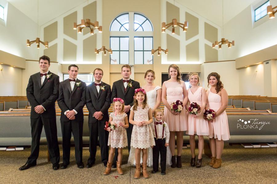 Annelies & Kyle, Coaldale indoor church wedding formals