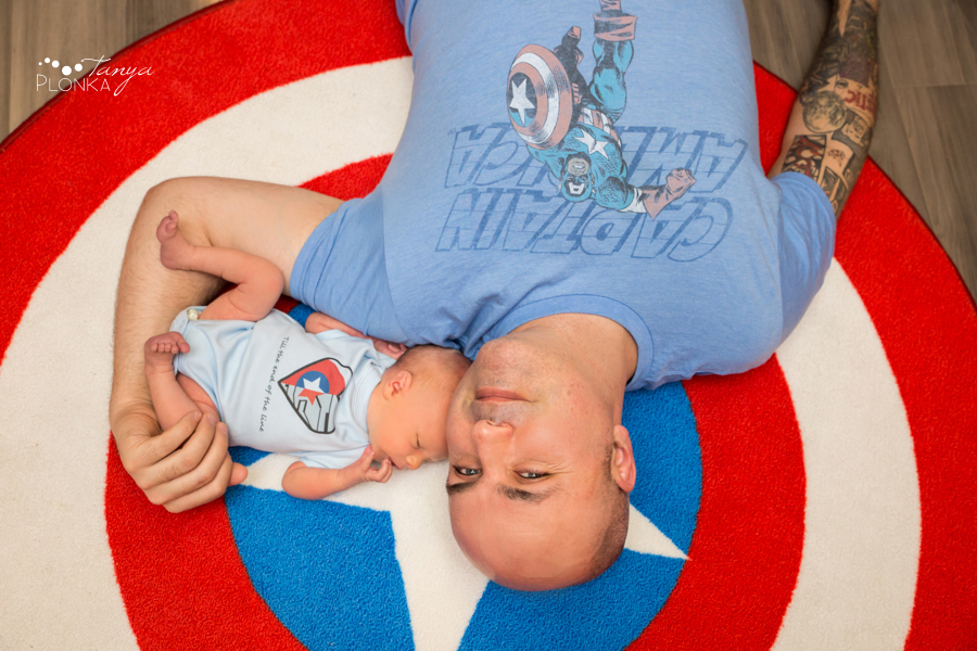 Captain America themed newborn photos in Lethbridge