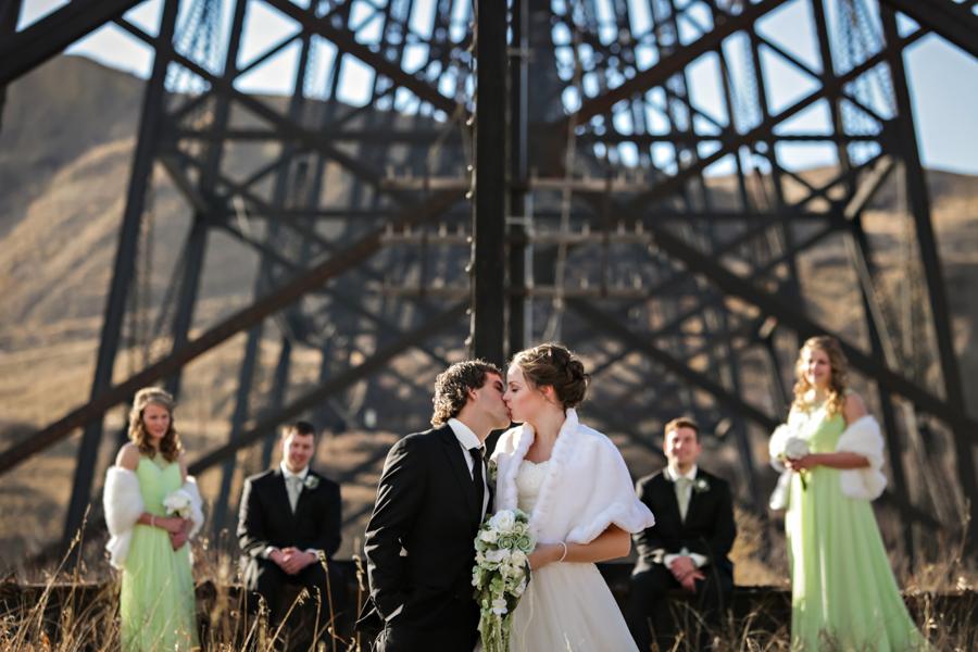 Chaisson & Krystal, Indian Battle Park winter wedding photos