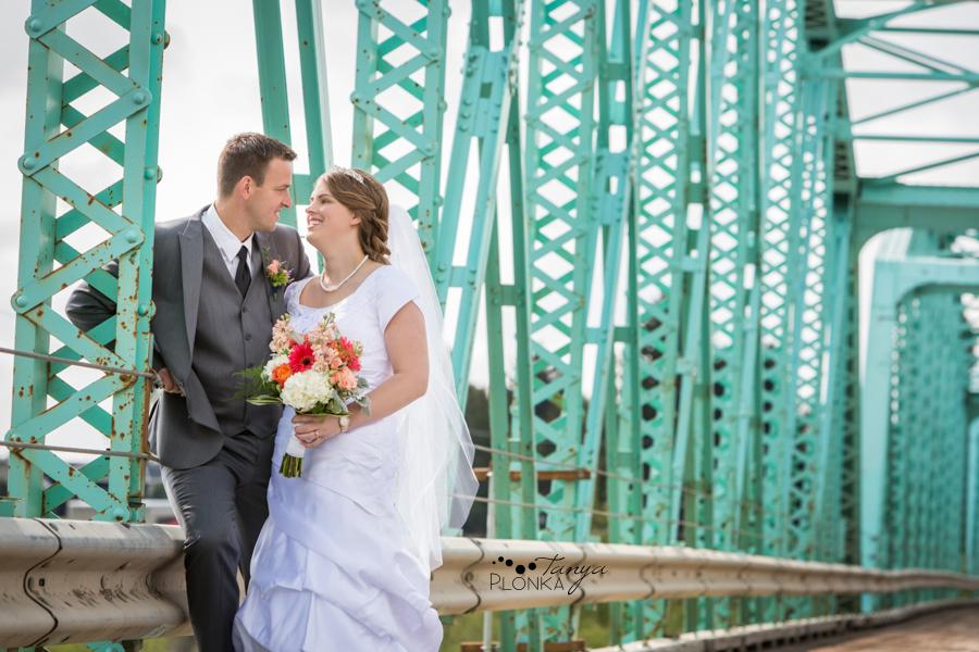 Henry and Kari, Fort Macleod green bridge wedding photos