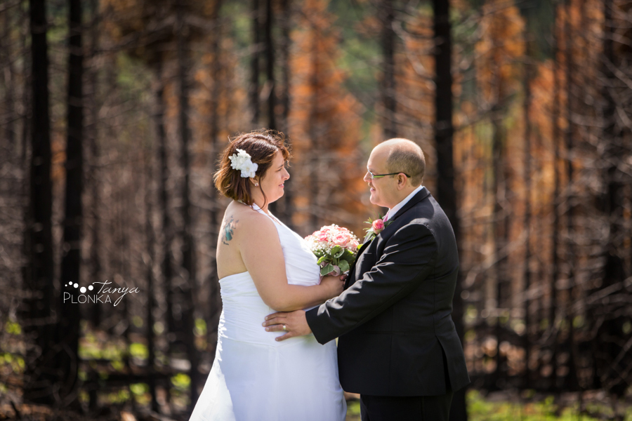 Dara and Chris, Waterton burned forest wedding photos