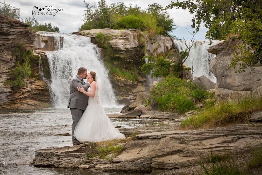 Jill and Shaun, Lundbreck Falls scenic outdoor wedding photos