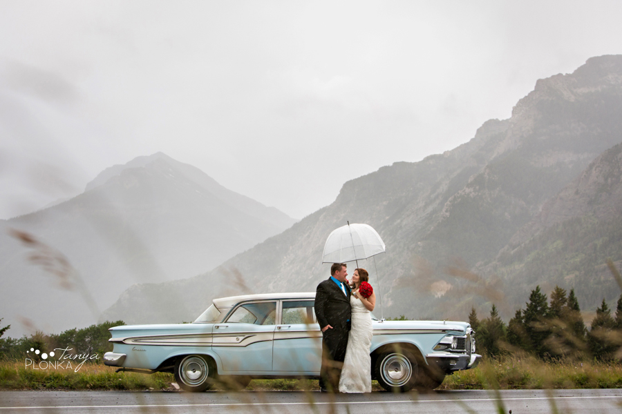 Shawn & Adrienne, Waterton Lakes vintage car wedding photography