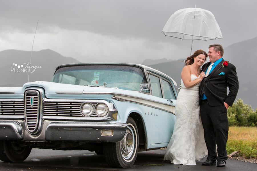 Shawn & Adrienne, Waterton retro car wedding photos