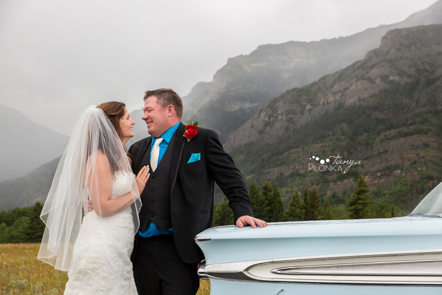 Shawn & Adrienne, Waterton classic car wedding photos